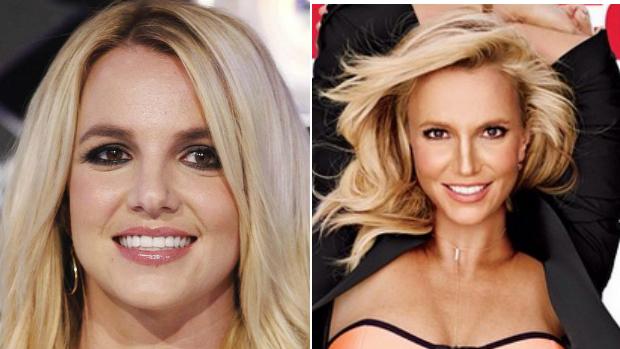 Britney Spears durante cerimônia do VMA e na capa da revista Womens Health