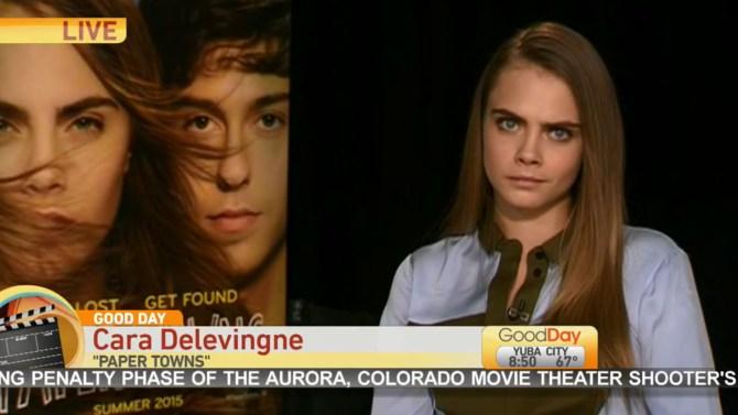 A atriz Cara Delevingne em entrevista ao programa american Goo Day Sacramento