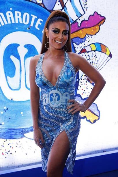 Juliana Paes no camarote após desfile da Viradouro