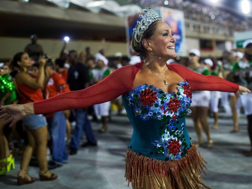 Susana Vieira no ensaio técnico da escola de samba Grande Rio, na Marquês de Sapucaí