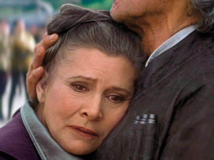 Carrie Fisher como Leia em Star Wars - O Despertar da Força