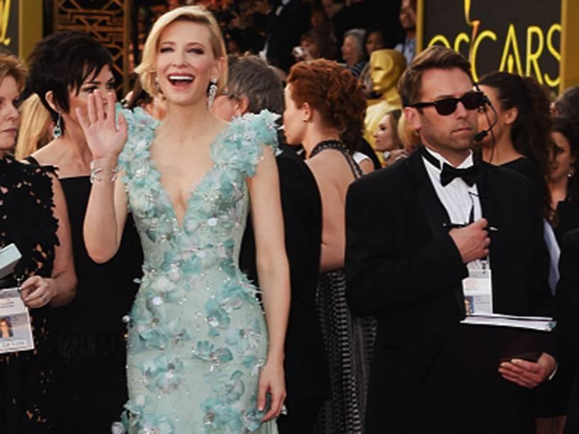 Cate Blanchett antes do início do Oscar 2016 no Teatro Dolby, em Los Angeles