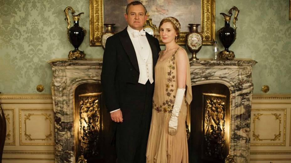 Os personagens Lord Grantham (Hugh Bonneville) e sua filha, Edith (Laura Carmichael)na quinta temporada de Downton Abbey'