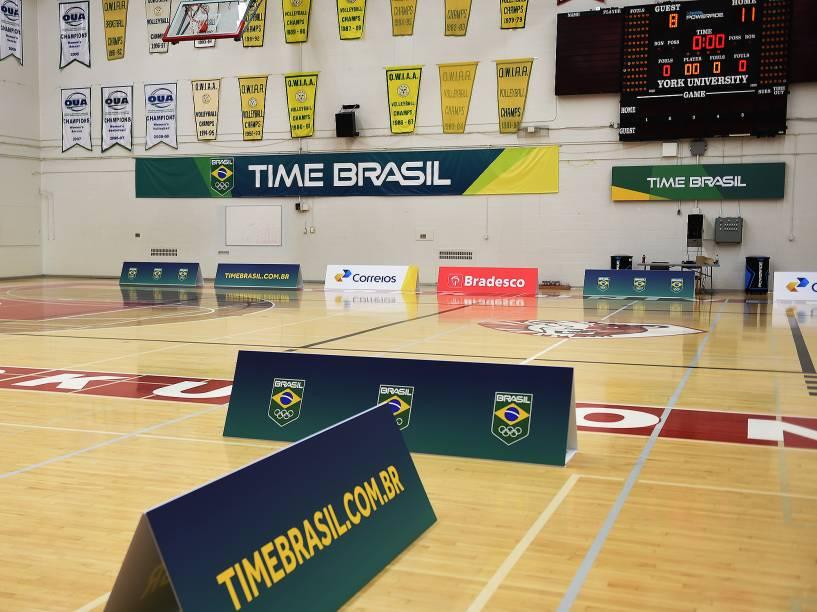 O espaço de treinos do basquete do Time Brasil, situado nas instalações da Universidade de York