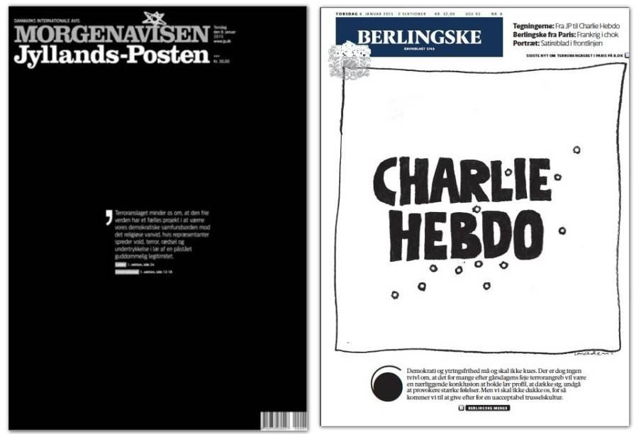 O jornal Berlingske, da Dinamarca, também virou alvo de ameaças após publicar charges em homenagem aos mortos no atentado em Paris. Na capa desta quinta-feira, traz uma ilustração com o nome do jornal francês <em>Charlie Hebdo marcado por marcas de tiros</em>