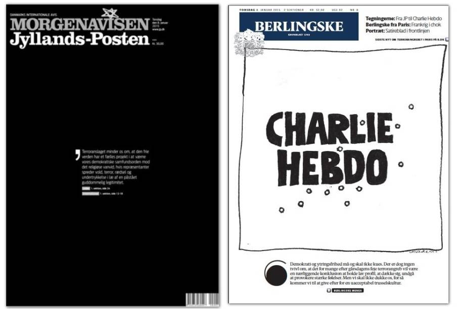 Capa do jornal dinamarquês Jyllands Posten<em> </em>desta quinta-feira. Após publicar caricaturas do profeta Maomé feitas pelos chargistas do jornal francês Charlie Hebdo mortos no ataque de quarta-feira, o periódico passou a ser alvo de ameaças