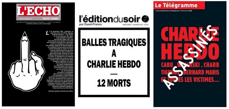O jornal Le Télégramme, da França, mostra na capa desta quinta o nome de algumas das doze vítimas do massacre em Paris, sob a palavra Assassinados