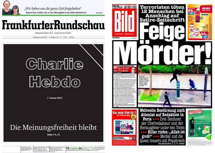 """O periódico Bild, da Alemanha, traz na manchete a frase """"Assassino covarde"""""""