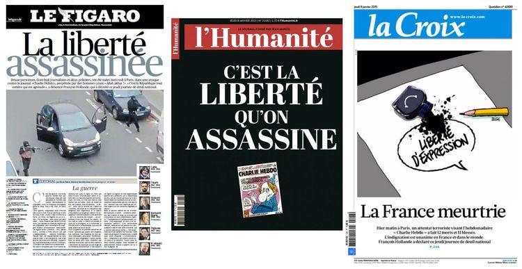 Na França, a publicação LHumanité trouxe na capa desta quinta-feira a frase Esta é a liberdade de ser assassinado