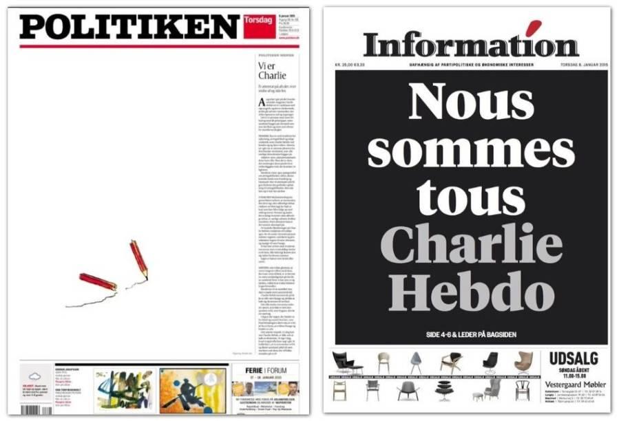 """A imagem de um lápis quebrado ao lado do texto cujo título significa """"Somos Charlie estampa a primeira página do jornal dinamarquês Le Politiken"""