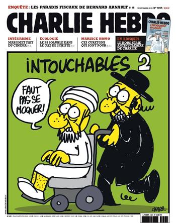 Capa da edição de setembro de 2012 da revista francesa <em>Charlie Hebdo</em>