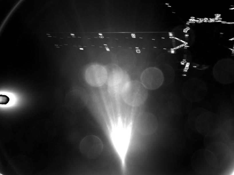Primeira imagem enviada por Philae à Terra, mostra parte da sonda Rosetta, apenas 50 segundos após a separação