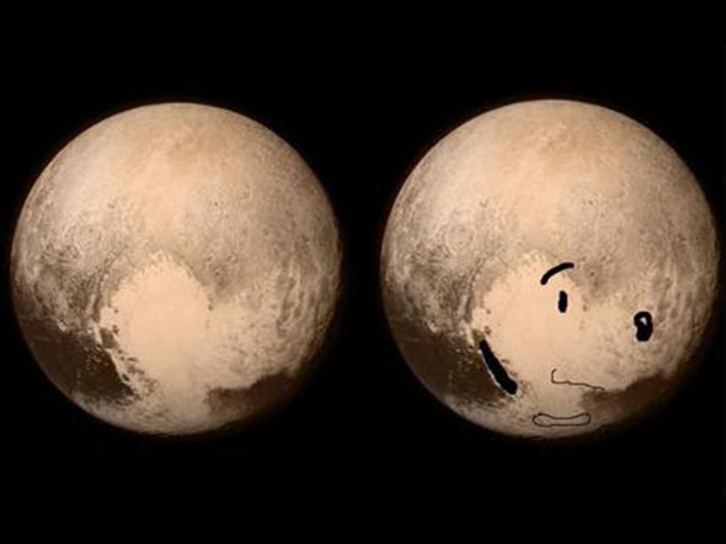 <p>Outra perspectiva com o perfil de um cachorro visto em Plutão, dessa vez o Snoopy, do cartum Peanuts</p>