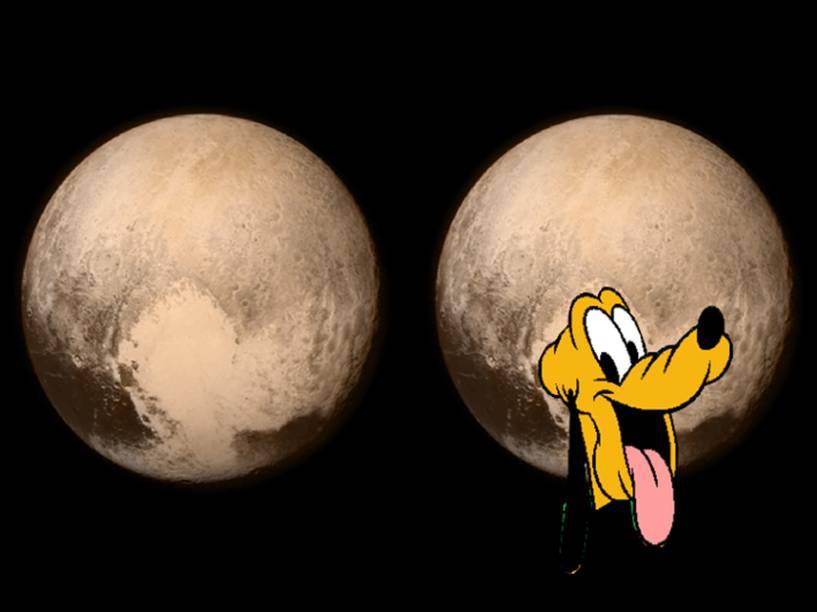 <p>O cachorro Pluto, personagem da Disney, aparece na montagem da imagem de Plutão obtida pela sonda New Horizons da Nasa</p>