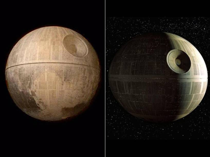 <p>Montagem em que Plutão é transformado na Estrela da Morte da saga Star Wars do diretor George Lucas</p>
