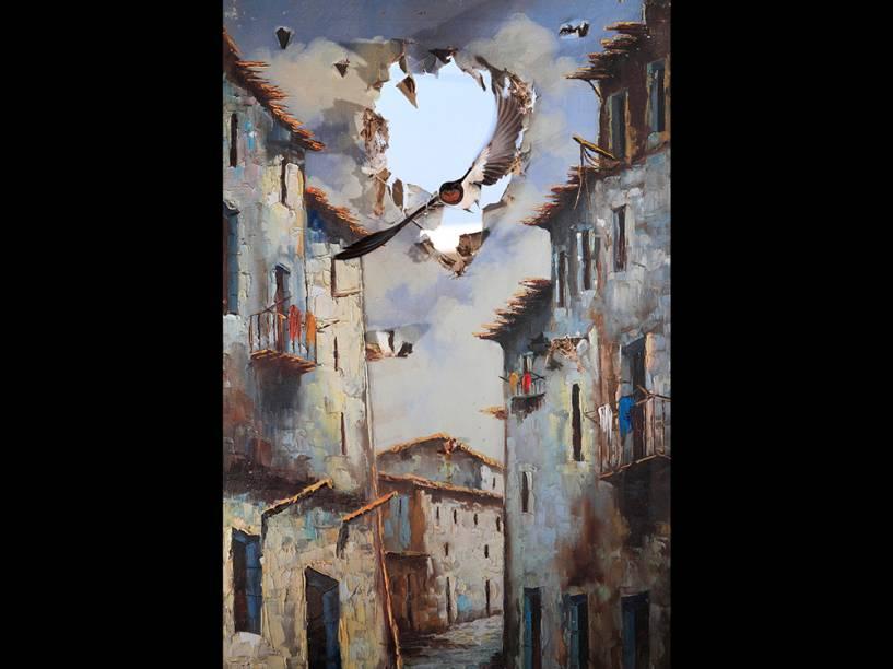 <p>Na categoria 'Impressões', que premia pinturas da natureza, o espanhol Juan Tapia foi o vencedor com o retrato de uma andorinha rompendo a cena na cidade.</p>