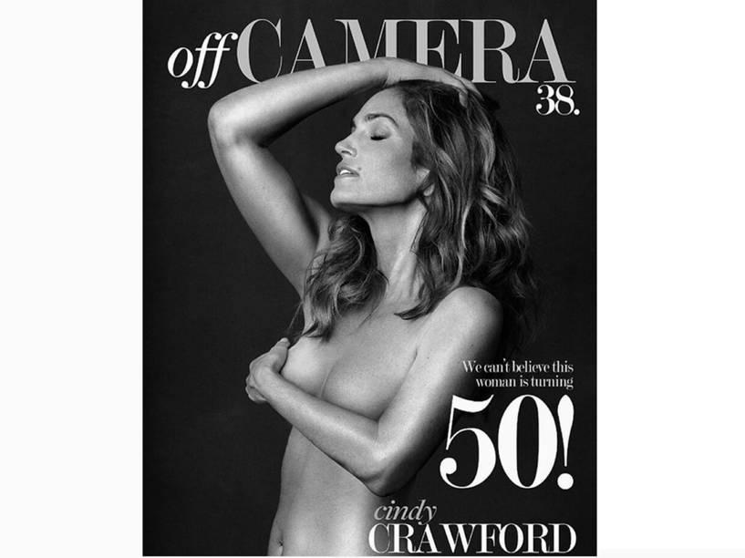 Cindy posou nua para a capa da revista Off Camera