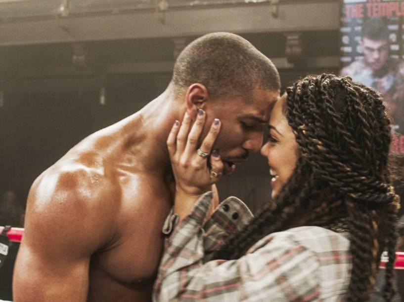 Michael B. Jordan (Adonis Johnson) e Tessa Thompson (Bianca) em cena do filme Creed: Nascido Para Lutar