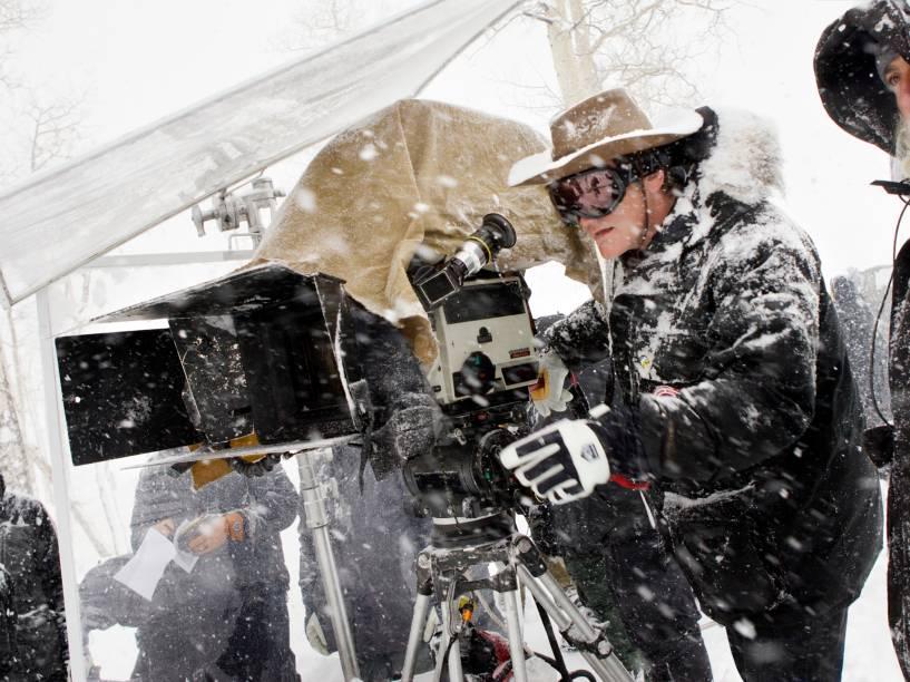O diretor Quentin Tarantino no set de filmagens de Os Oito Odiados