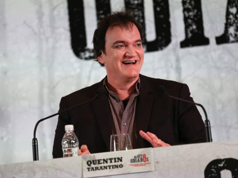 O diretor Quentin Tarantino durante coletiva de imprensa do filme Os Oito Odiados no Brasil