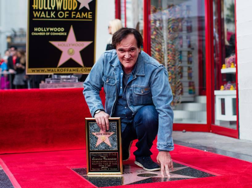 O diretor de cinema Quentin Tarantino recebe homenagem na Calçada da Fama em Hollywood