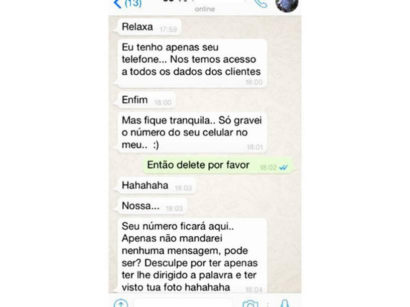 Conversa entre atendente da NET e Ana Prado