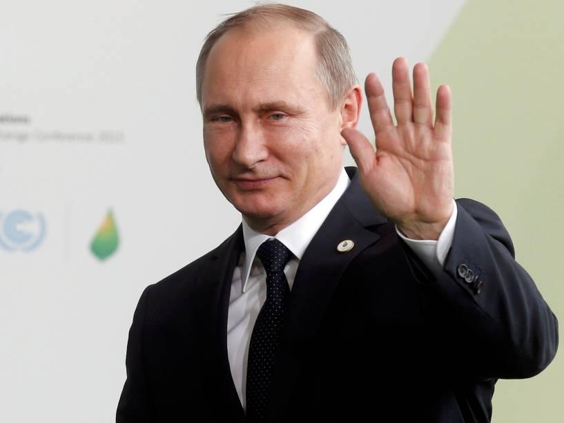 <p>O presidente russo, Vladimir Putin, durante o primeiro dia da Conferência do Clima de Paris (COP21)</p>