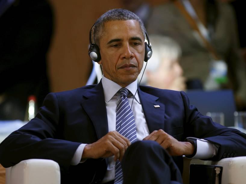 <p>O presidente dos Estados Unidos, Barack Obama, durante o primeiro dia da Conferência do Clima de Paris (COP21)</p>
