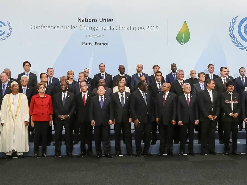 <p>A presidente do Brasil, Dilma Rousseff, durante o primeiro dia da Conferência do Clima de Paris (COP21)</p>