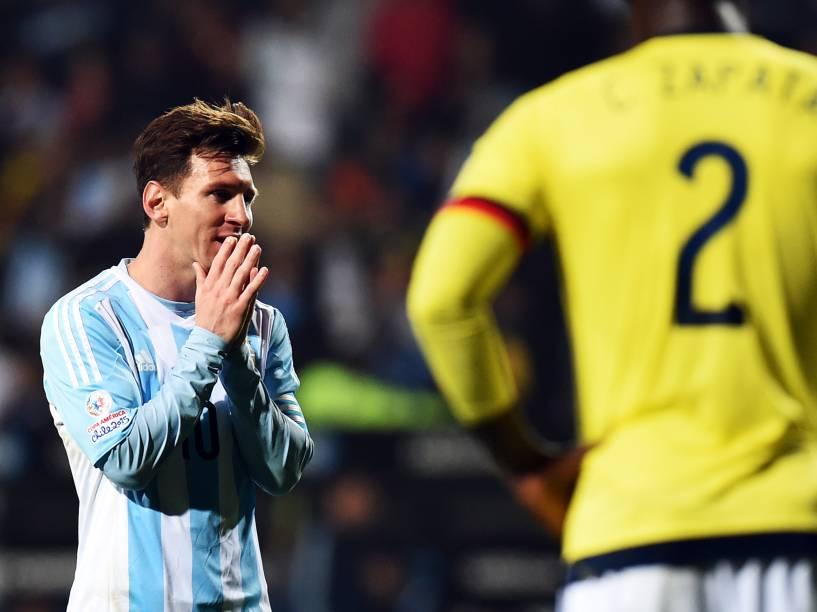 O argentino Lionel Messi durante as quartas de final contra a Colômbia