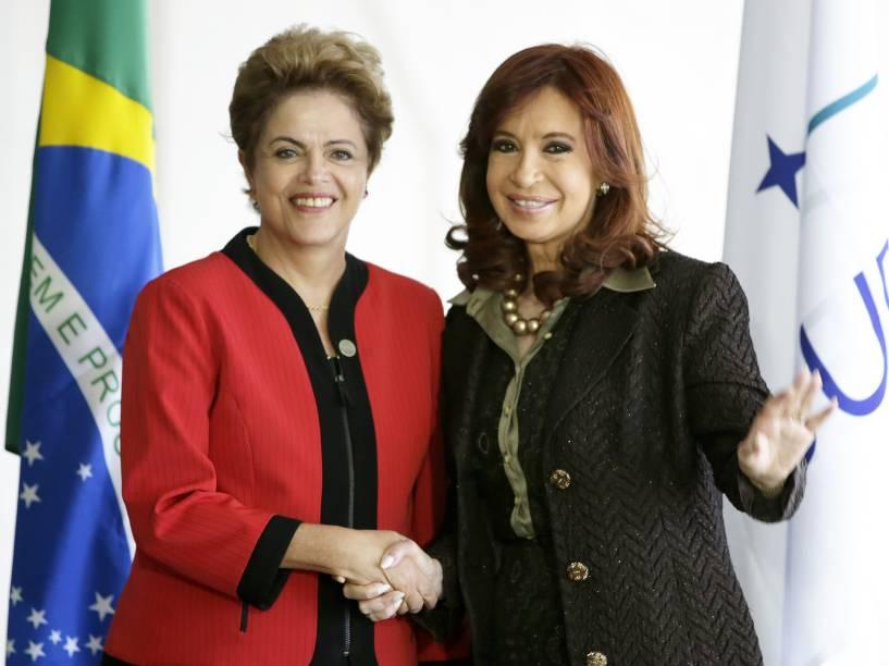 A presidente Dilma Rousseff recebe a presidente da Argentina, Cristina Kirchner, no Palácio do Itamaraty, Brasília