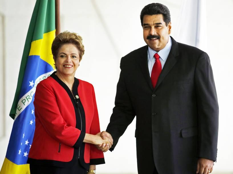 A presidente Dilma Rousseff recebe o presidente da Venezuela, Nicolás Maduro, no Palácio do Itamaraty, sede do Ministério das Relações Exteriores