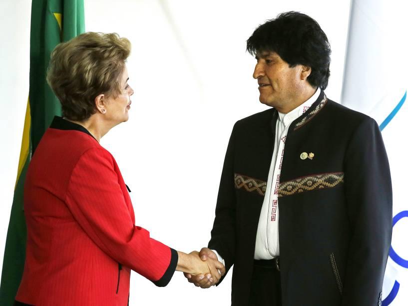 Dilma recebe o presidente boliviano, Evo Morales, no Palácio do Itamaraty, Brasília