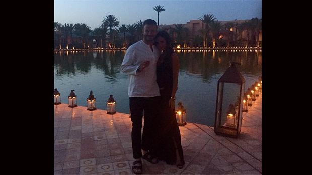 David Beckham e a mulher, Victoria, na festa de 40 anos do jogador, em Marrakech