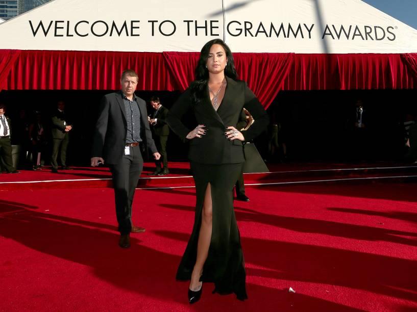 Demi Lovato durante a 58ª edição do Grammy, premiação que elege os melhores da música internacional, que acontece nesta segunda-feira (15)