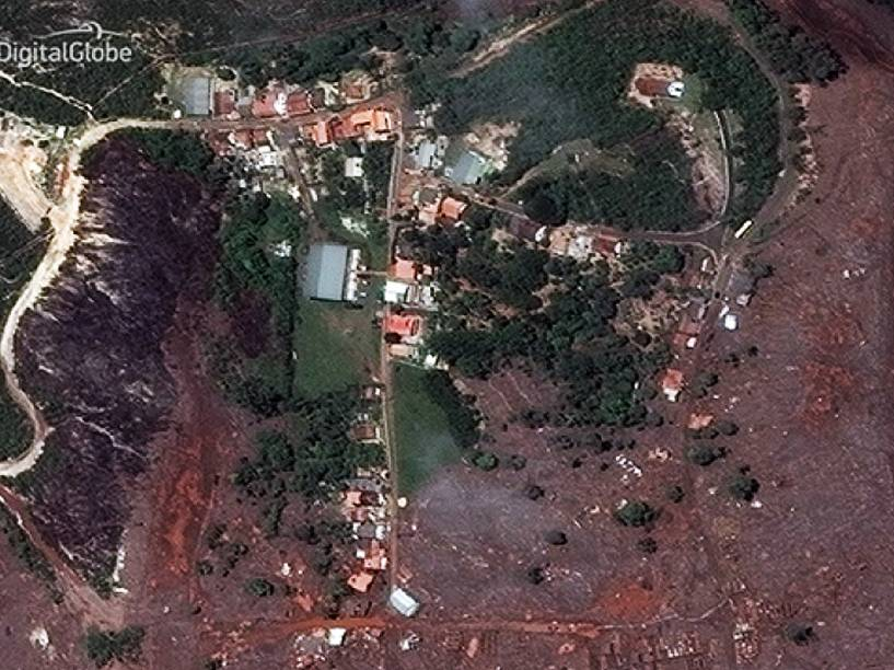 A DigitalGlobe divulgou nesta quarta-feira (11), pela primeira vez, imagens de satélite de altíssima resolução da região do desastre em Mariana