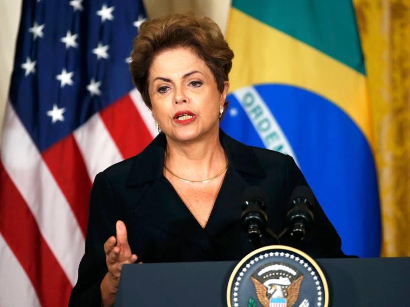 <p>A presidente do Brasil Dilma Rousseff fala durante coletiva na Casa Branca, em Washington </p>