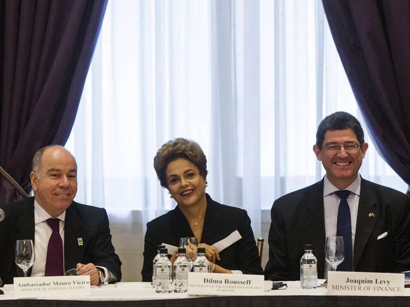 <p>A presidente Dilma Rousseff durante encontro com empresários do setor produtivo, em Nova York</p>