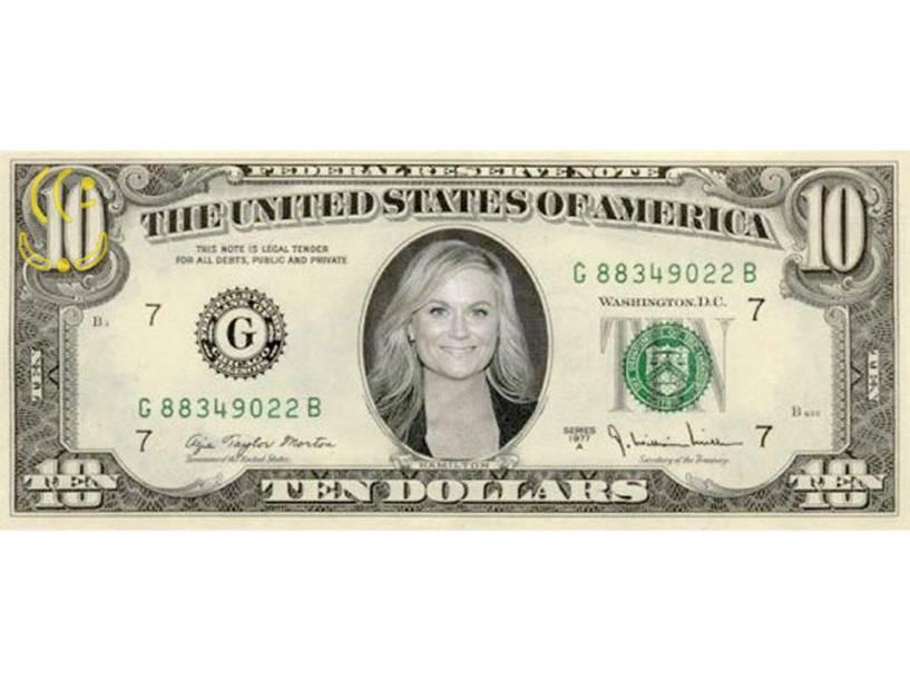 Amy Poehler na nova nota de 10 dólares