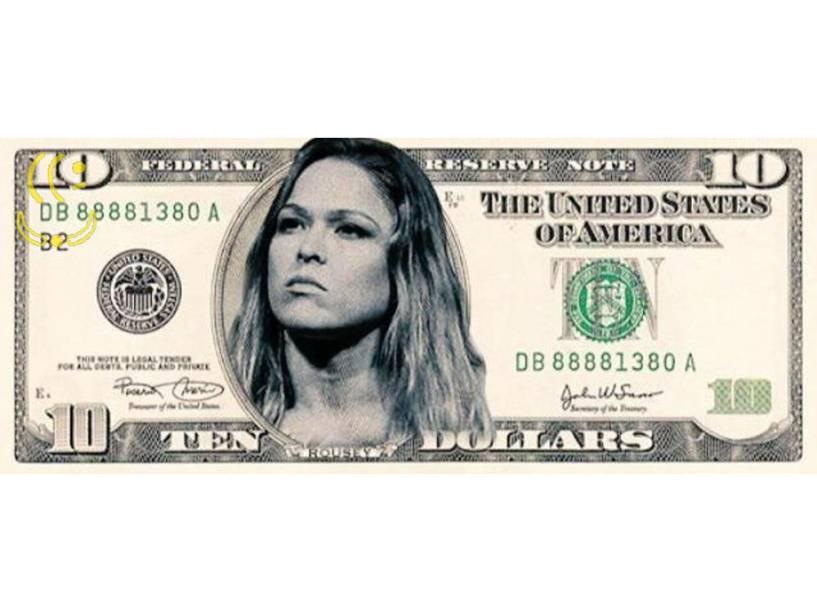 Ronda Rousey na nova nota de 10 dólares