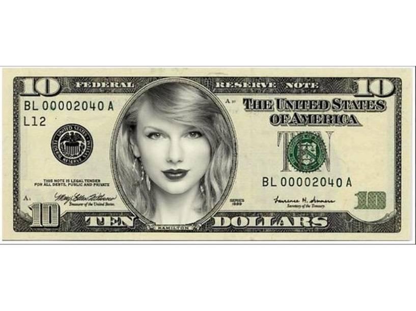 Taylor Swift na nova nota de 10 dólares