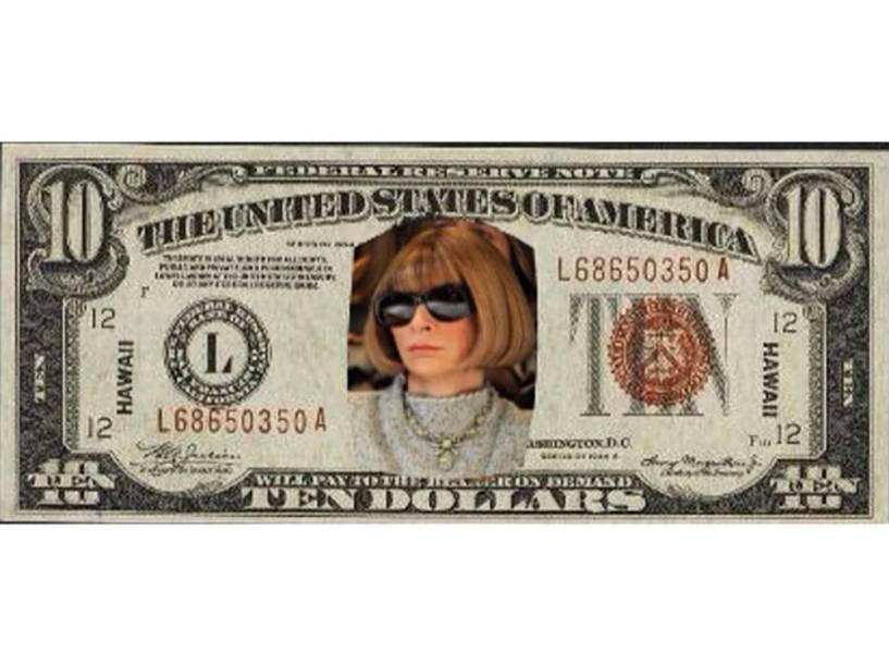 Anna Wintour na nova nota de 10 dólares