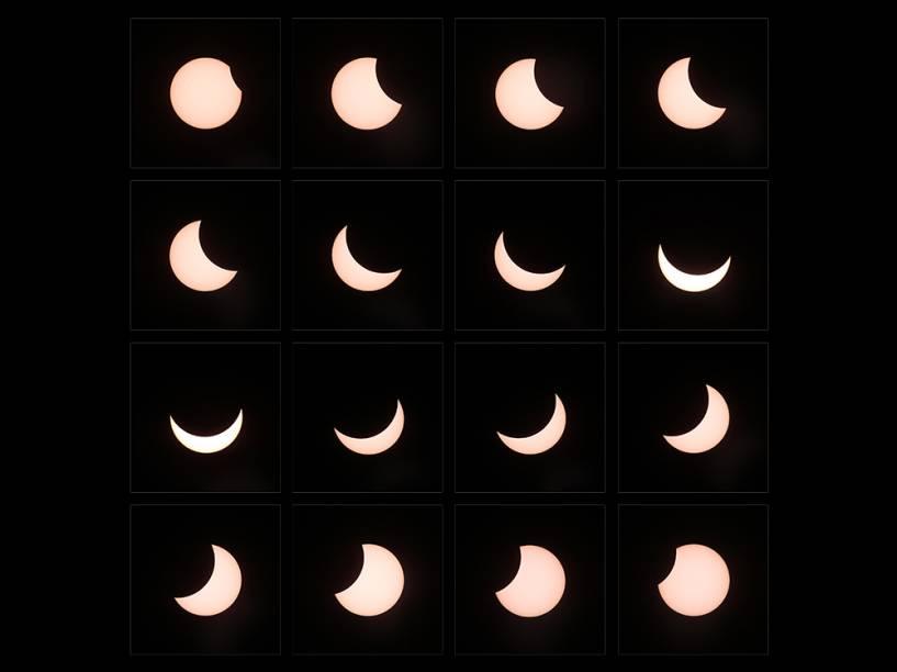 <p>Combinação de imagens mostra a evolução do eclipse solar</p>