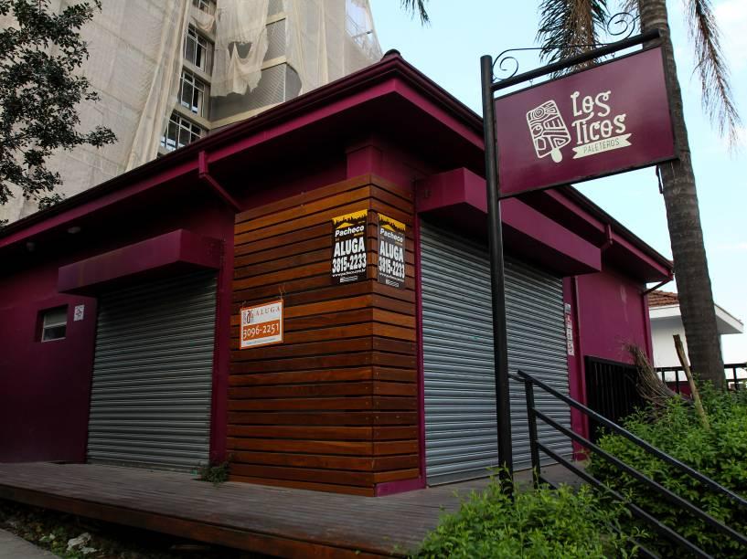 Paleteria fechada na Rua Harmonia, na Vila Madalena