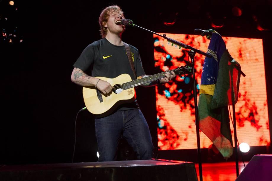 O músico inglês Ed Sheeran, em show no Espaço das Américas, em São Paulo
