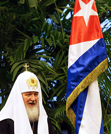Patriarca Kirill, chega à Havana, em Cuba, para a primeira reunião entre os líderes das igrejas católica e ortodoxa em quase mil anos, nesta sexta (12)