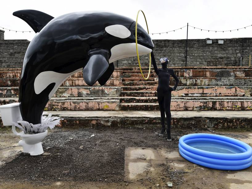 Aqui, uma homenagem de Banksy ao parque Sea World