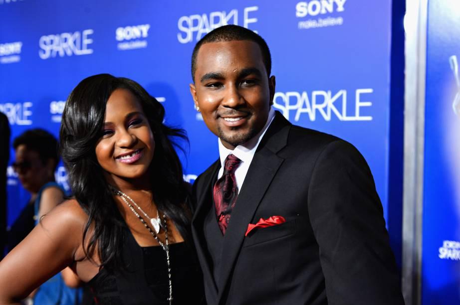 Bobbi Kristina Brown e seu marido, Nick Gordon, durante lançamento do filme Sparkle em 2012