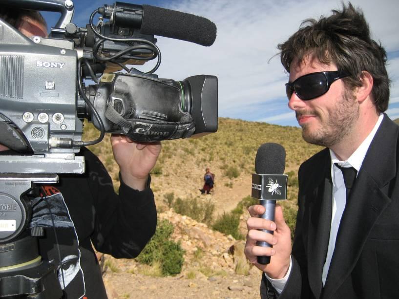 Danilo Gentilli durante gravação do programa CQC, da Rede Bandeirantes