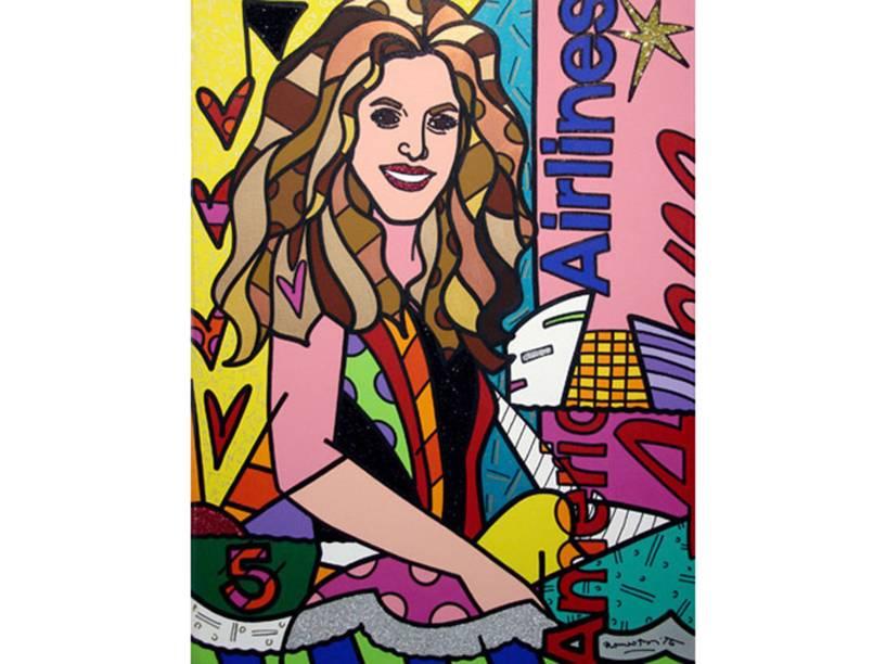 A cantora Shakira sob as cores de Romero Britto